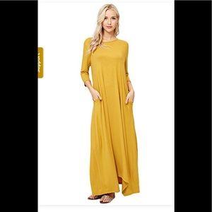 Mustard maxi dress NWOT
